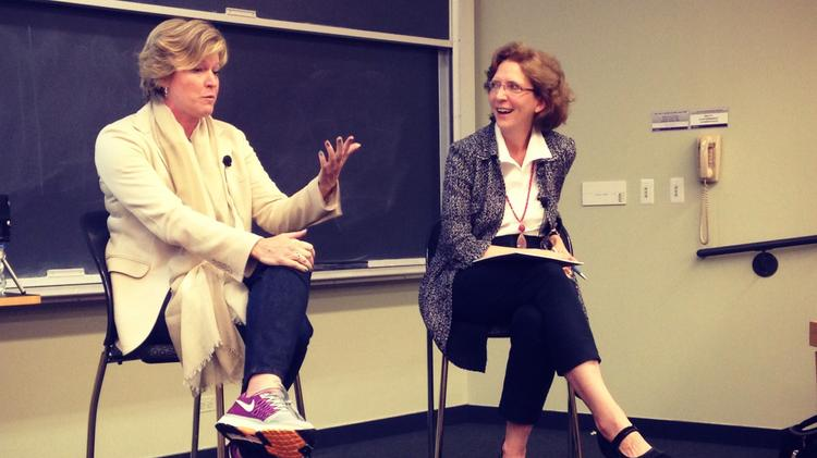Starcom USA CEO Lisa Donohue (left) and professor Julie Hennessy (right) discussed media buying with Kellogg School of Management students.