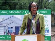 Wichita City Council Member Lavonta Williams represents the district that includes the North Poplar neighborhood. She spoke during Wichita Habitat for Humanity's news conference Friday.