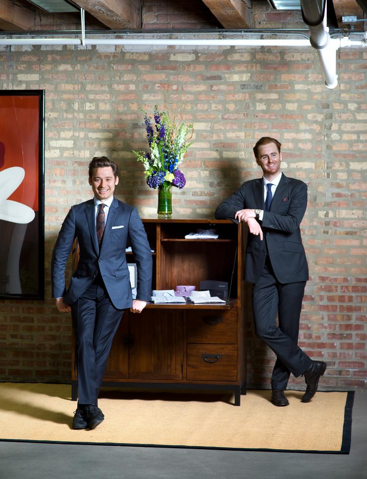 Richard Hall (left) and McGregor Madden have moved their custom suit and shirting businesses to Chicago.