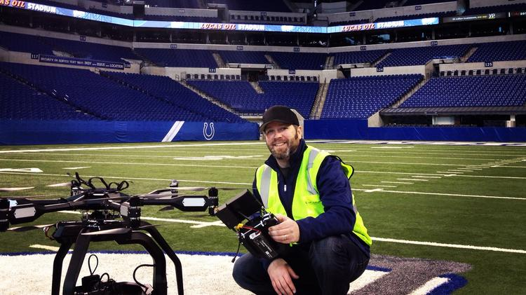 Allen Farst at Lucas Oil Stadium in Indianapolis, site of the Super Bowl.