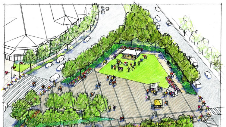 A rendering shows how green space could replace the deteriorating McKeldin Fountain at Pratt and Light streets in downtown Baltimore.
