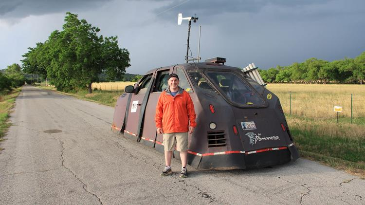 """Ray Bohac of Lewis Center rode in the TVN Weather """"Dominator"""" armored vehicle in a storm-chasing trip purchased on a Kickstarter campaign for the Oklahoma company's web series """"Tornado Chasers."""" Now he's hooked."""