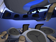 Boeing's capsule features smooth profiles and Boeing blue.