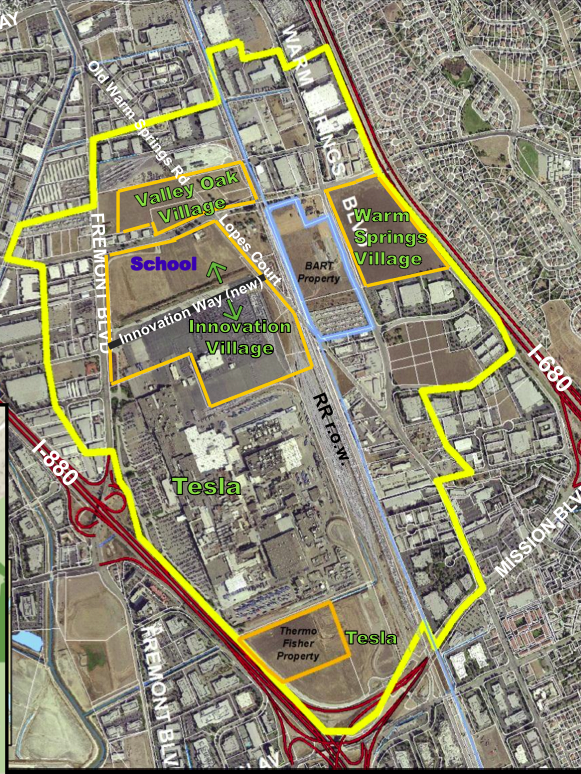 A map shows the relative locations of various parcels around the under-construction Fremont BART station.