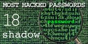 The top most hacked passwords include shadow at No. 18.