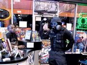 A Comic Shop customer dressed in post-apocalyptic gear on hand for an in-store event.