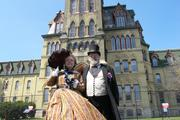 Re-enactors attended the event in clothes contemporary with the Civil War.