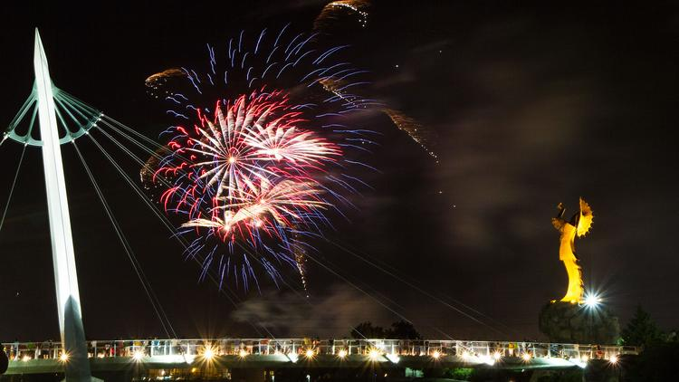 A fireworks show over the Arkansas River kicked off Wichita River Festival Friday night in downtown Wichita.