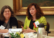 Terri Sorensen, executive director of Friends of the Children, makes a point during a gathering of nonprofit executives organized by the Portland Business Journal. Elizabeth Grant, who manages the charitable activities section of the Oregon Attorney General's office, is to the left.