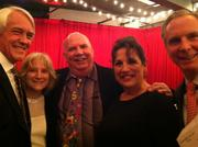 Among the 5th Avenue Theatre supporters at its annual gala on May 31 were, left to right, Conrad Wouters, Glenna Olson, Ken Kirkpatrick, SaSa Kirkpatrick, and Tom Norwalk. Dinner was served below the stage in the rehearsal hall, and guests were transported there on a lift at the orchestra pit, 50 people at a time.