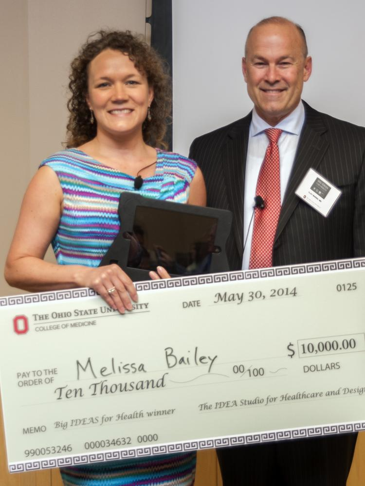 Melissa Bailey won $10,000 for a low-cost mobile eye exam she invented.