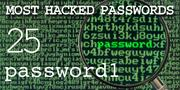 The top most hacked passwords include password1 at No. 25.