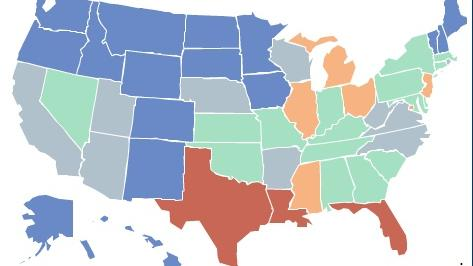 This map shows geographic variation in standardized Medicare spending.