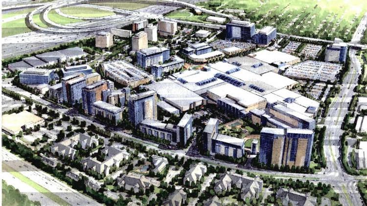 This rendering was developed by Vornado for its 2009 Springfield Mall rezoning bid. The existing mall is in the center, surrounded by a massive amount of new development — mostly residential, with nearly a half million square feet of office and hotels. This is why the Pennsylvania Real Estate Investment Trust is paying $465 million for the Springfield Town Center.