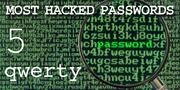 The top most hacked passwords include qwerty at No. 5.