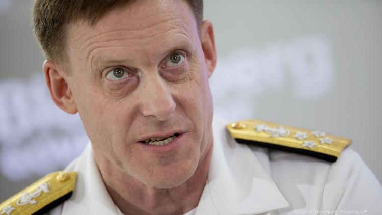 Adm. Mike Rogers, director of the National Security Agency and commander of U.S. Cyber Command, speaks during a Bloomberg Government cybersecurity conference in D.C. on Tuesday.