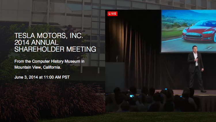 At Tesla Motors' annual shareholder meeting, held Tuesday at the Computer History Museum in Mountain View, California, company CEO Elon Musk said planning for the Gigafactory is on track.