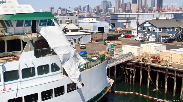 The second of three new Washington State ferries, the M/V Samish, is being constructed at Vigor Industrial on Harbor Island in Seattle. The 27-acre facility repairs and builds mid-sized to large vessels, including tugs, fishing boats, barges, offshore oil and gas vessels, and military vessels.