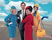 """Left to right: Bhama Roget, Richard Nguyen Sloniker, Angela DiMarco and Cheyenne Casebier in """"Boeing Boeing"""" at the Seattle Rep through May 19."""