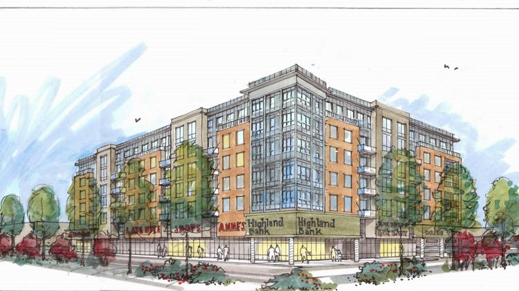 A rendering of the Highland Bank redevelopment project, which was designed by Minneapolis-based Elness Swenson Graham Architects.