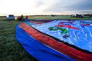 The Kosair Children's Hospital balloon was stretched out on the ground prior to the crew inflating it.