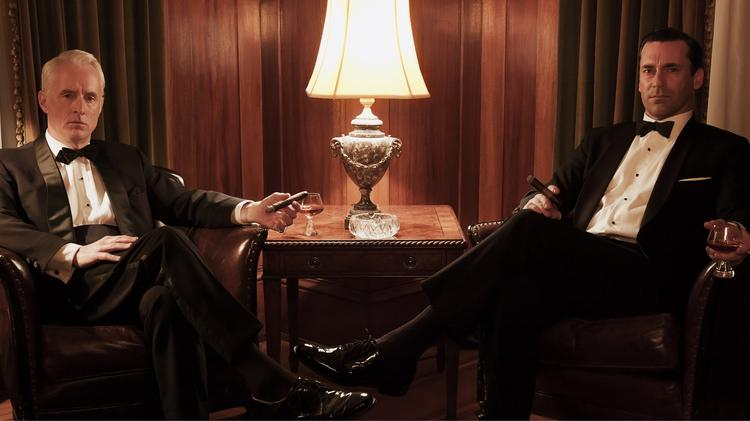 """John Slattery and Jon Hamm star in """"Mad Men"""" in this handout photo taken on March 1, 2013."""
