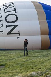 Norton Healthcare's balloon was readied for lift off in the rush-hour race.