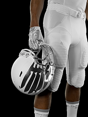 The helmet for the away set is a stark white and silver.