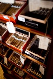Cigars are displayed for sale in the Little Havana Cigar Factory on Calle 8, or Eighth Street, in the Little Havana district of Miami.