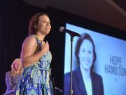 Charlotte Business Journal Women in Business award winner Hope Hamilton tells the crowd at the annual luncheon what she would tell her 18-year-old self.