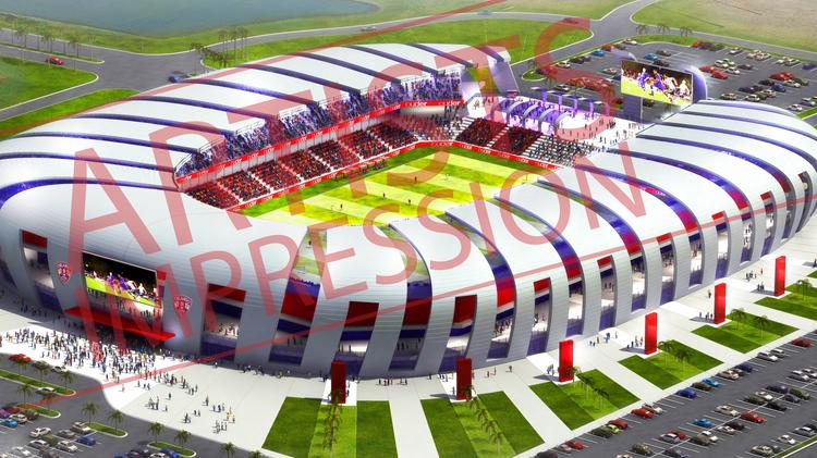 This is an earlier conceptual rendering of what Orlando City Soccer Club's proposed stadium might look like. Executives have since said the stadium will appear differently.