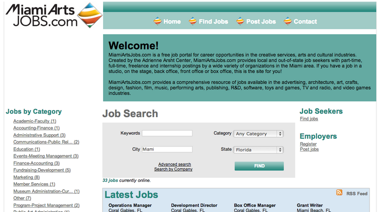 MiamiArtsJobs.com has had 86 local jobs posted to the site since its launch at the end of Q1.