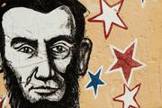 A portrait of Abraham Lincoln is displayed in a mural on Calle 8, or Eighth Street, in the Little Havana district of Miami.