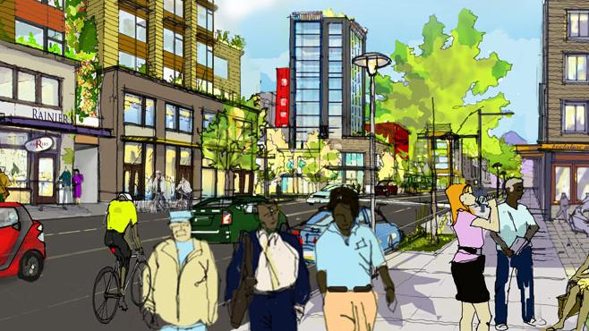 Buildings as tall as 12 stories could be built around Seattle's Mount Baker light-rail station in City Hall's plan for a revitalized neighborhood as shown here. A City Council committee on Tuesday recommended passage of the upzone. The full council is scheduled to vote on the plan on June 23.