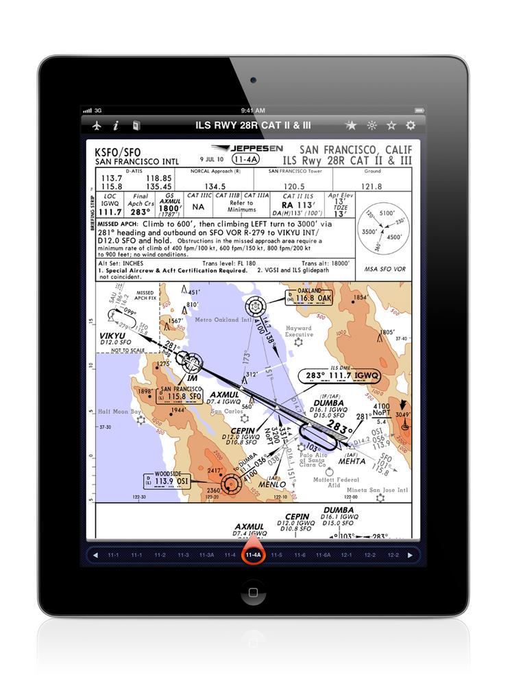 An approach route to San Francisco International on an iPad, using software developed by Jeppesen an early Boeing digital acquisition.