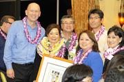 From left, Halekulani Corp. COO Peter Shaindlin, left, poses with Vice President Patricia Tam, PBN's Businesswoman of the Year for for-profit companies, Executive Vice President Yoshinori Maeda, Director of Human Resources Karen Honma, Senior Vice President Takashi Nakayama and Director of Quality Standards Evelyn Nakaya at PBN's 2013 Women Who Mean Business event at The Royal Hawaiian hotel in Waikiki.