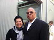 Mary Bacarella, head of Seattle International Film Festival with Garfield High School's jazz great Clarence Acox, a band leader and jazz drummer who is friends with Garfield High School alum Quincy Jones. The two are outside the Chihuly Boathouse waiting for Jones to attend a sellout fundraiser where people paid $150 to meet him.