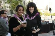 Bernadette Shafer Robins, left, of Shafer's Roofing,  which was No. 23 on the list of women-owned businesses, and Theresa Schenk of Schenk's Specialized Services at PBN's 2013 Women Who Mean Business event at The Royal Hawaiian hotel in Waikiki.