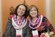 Dr. Tyrie Jenkins, left, whose Jenkins Eyecare was No. 17 on the list of women-owned businesses and Judy Bishop of Bishop & Co., which was the No. 3 women-owned business in Hawaii at PBN's 2013 Women Who Mean Business event at The Royal Hawaiian hotel in Waikiki.