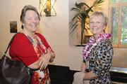 Kathy Clark, left, and Nancy Wilson of Hawaii Pacific Health at PBN's 2013 Women Who Mean Business event at The Royal Hawaiian hotel in Waikiki.