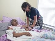 Alive Hospice nurse Heidi Fuchar cares for Alice Zachary, who lives with her son in Murfreesboro. Zachary, who has cancer, entered hospice care in early May.