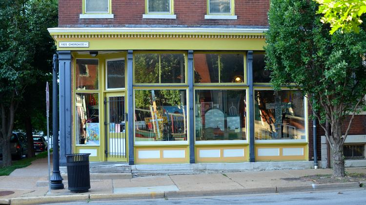 A cast-iron storefront on Cherokee Street, an example of the kind of architectural ironwork that St. Louis had been known for in the late 1800s. This is a Christopher and Simpson storefront.