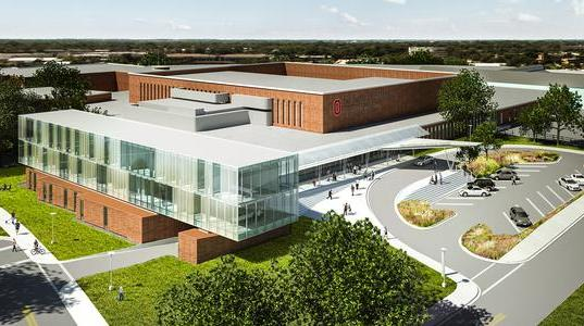 A glass faculty office addition over the current loading dock is the first phase of a planned $30 million expansion of Ohio State University Veterinary Medical Center.