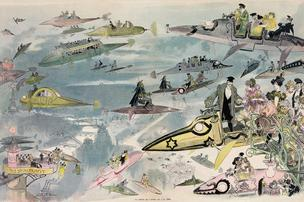 This 1882 print by French author and illustrator Albert Robida depicts air travel in the skies above Paris. Click through the gallery for a closer look at the scenes envisioned by Robida.