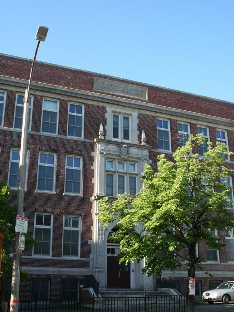 The shuttered Gate of Heaven School in South Boston is the center of a fight over whether there's too much housing in the close knit neighborhood.