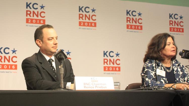 Republican National Committee Chairman Reince Priebus and RNC site-selection committee chairwoman Enid Mickelsen field questions at Kansas City's Sprint Center.