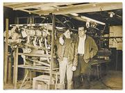 Tom Braun Sr. and his father, Albert Braun, in the garage where they built the original Steen Skybolt.