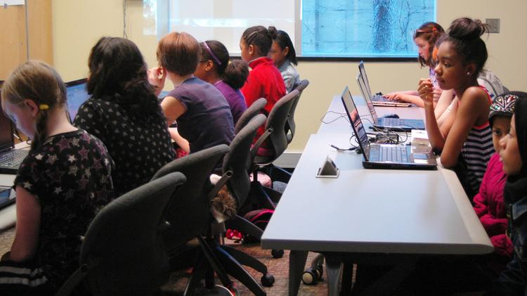 TechGirlz participants attend a workshop during Philly Women in Tech Summit.