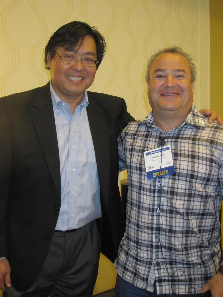 Tien Wong of Tech 2000, left, hosted a fireside chat with former Vocus CEO Rick Rudman during the Big Idea Connectpreneur Summer Forum, held June 5 at the Tysons Marriott.