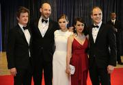 From left, House of Cards screenwriter Beau Willimon with actors Corey Stoll, Kate Mara, Constance Zimmer and Michael Kelly.
